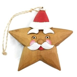 Handcrafted Wooden Santa Claus Star Ornament